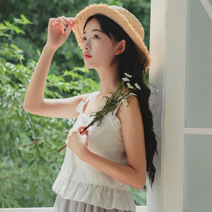 6429#【现货实拍】清新刺绣吊带背心
