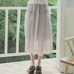 6418#【现货实拍】超仙质感雪纺半身裙