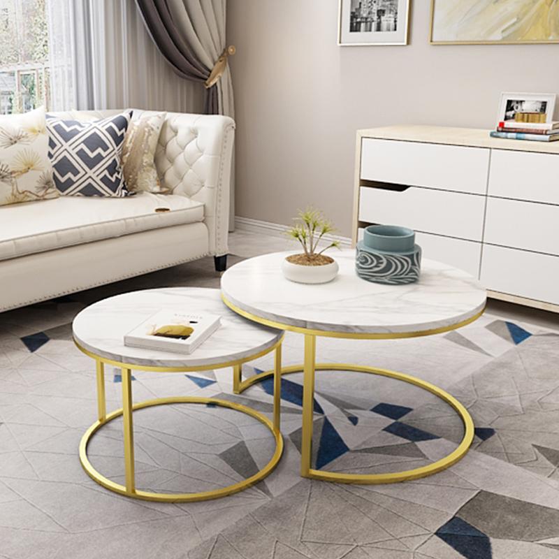 北欧轻奢大理石茶几简约现代客厅小户型圆形茶几铁艺创意咖啡桌子