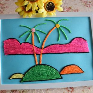 幼儿园材料包亲子趣味贴画新奇椰树a4 益智儿童手工diy贴画毛线画