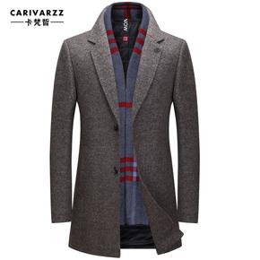 秋冬新款羊毛呢大衣男士中长款商务男装西装领修身呢子外套男风衣