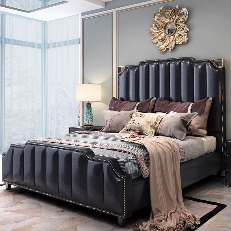 美式床轻奢床主卧港式黑色皮床真皮床后现代简约床简欧双人床家具