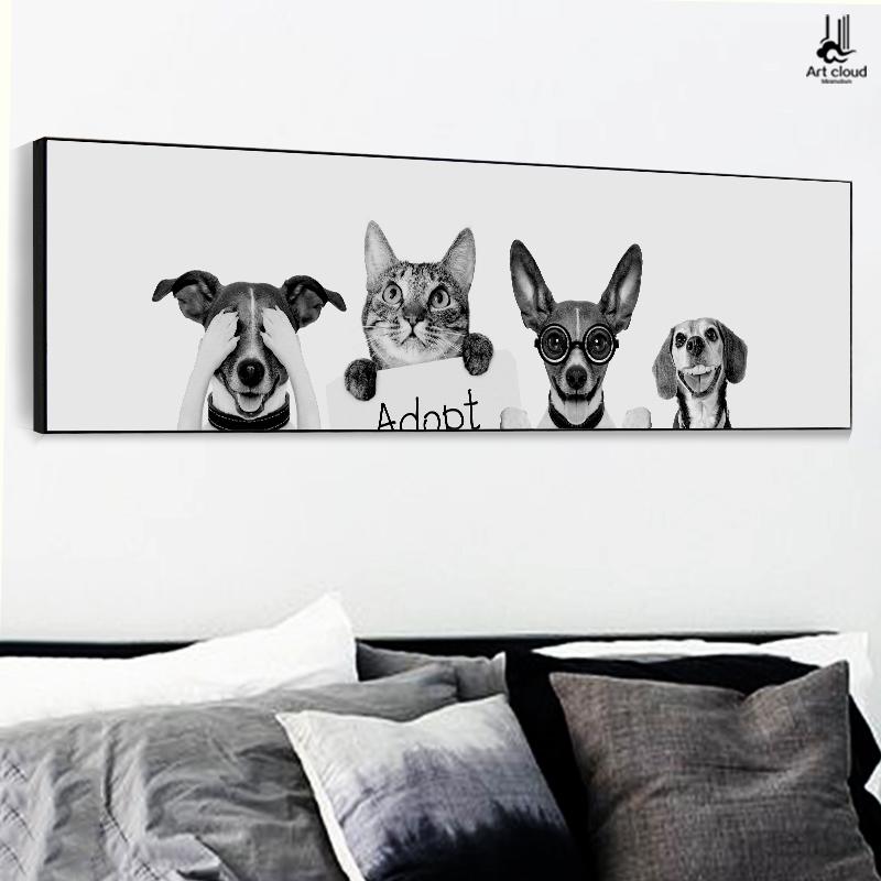 云图 创意北欧卡通卧室装饰画现代简约横版床头挂画客厅背景墙画