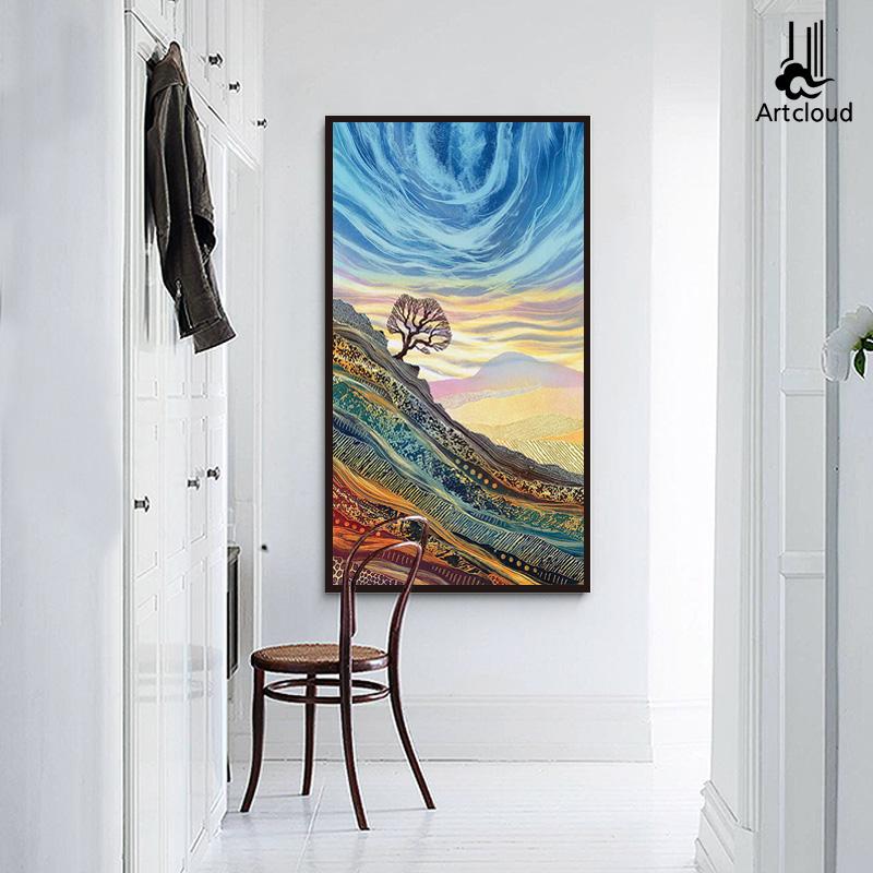 玄关装饰画过道竖版现代简约抽象风景客厅墙画走廊壁画办公室挂画
