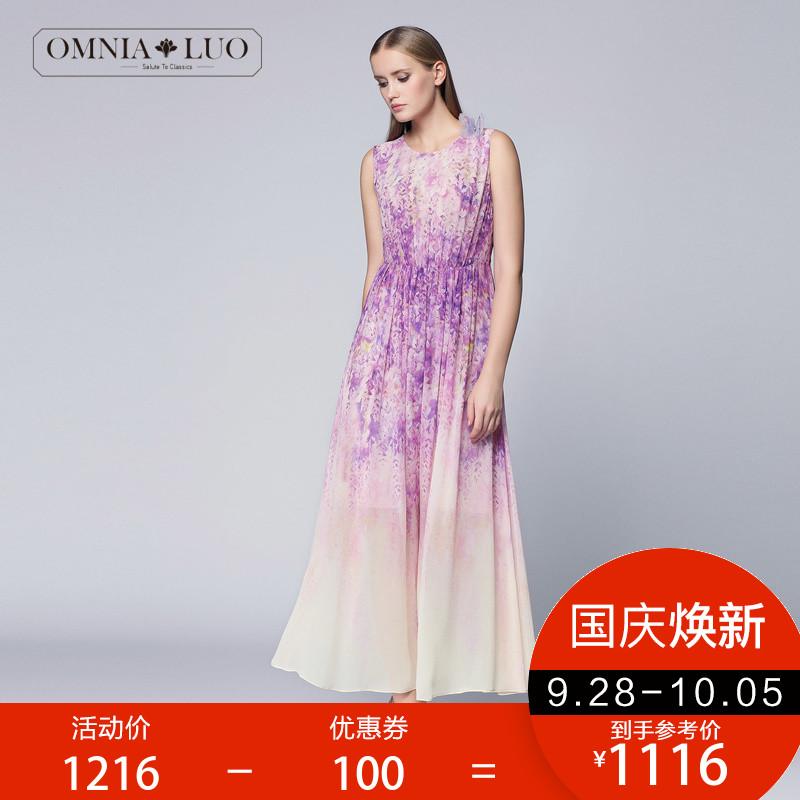 欧柏兰奴夏季薰衣草优雅无袖收腰长款印花连衣裙ORXL2104