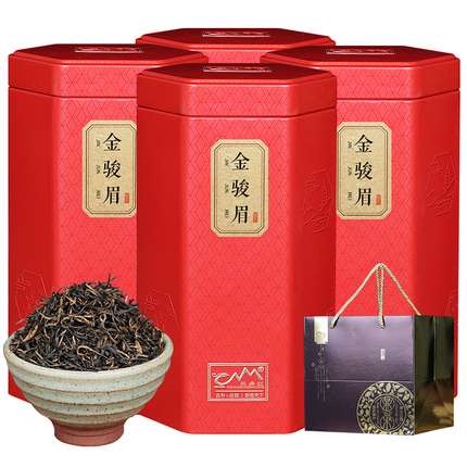 买一送三金骏眉红茶茶叶散装浓香型金俊眉罐装凤鼎红礼盒装共500g