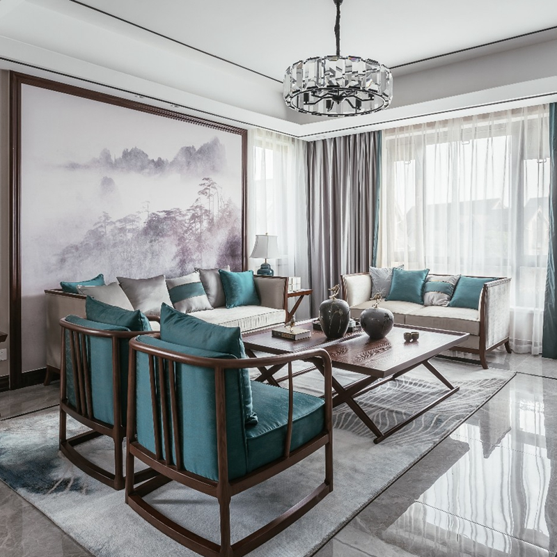新中式沙发组合现代简约整装布艺小户型中国风实木客厅家具定制