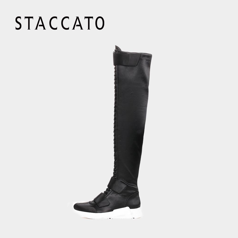 STACCATO-思加图2017年冬季专柜同款布面长筒女皮靴9H816DC7