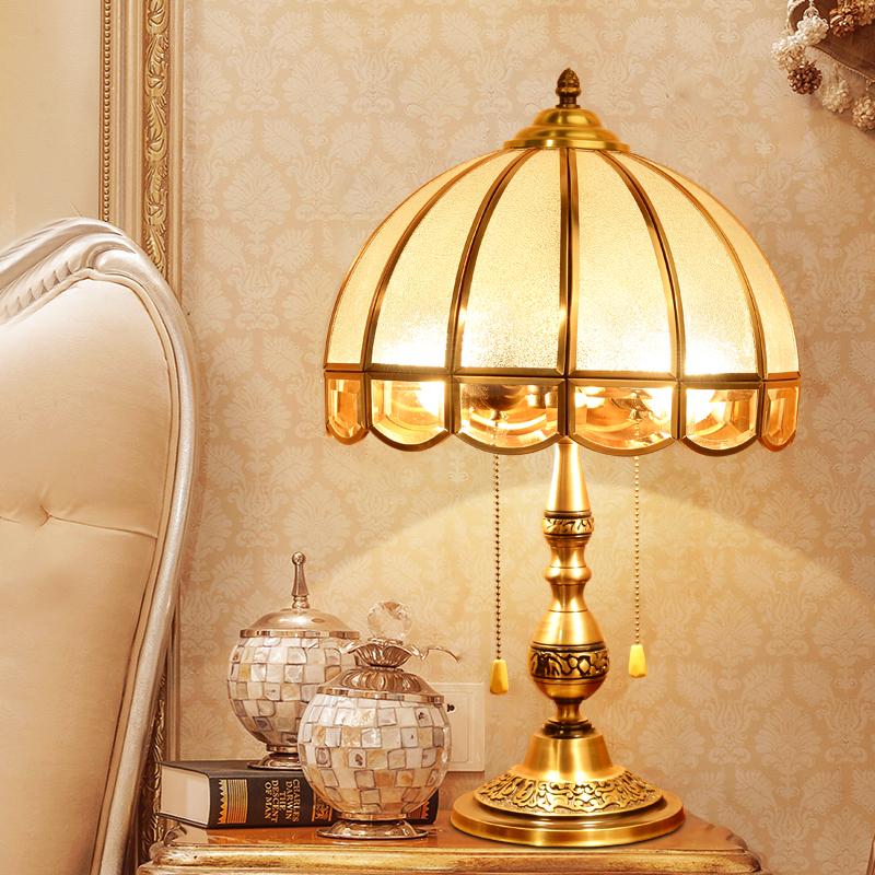 欧式全铜台灯卧室床头 婚房复古温馨婚庆结婚美式全铜台灯
