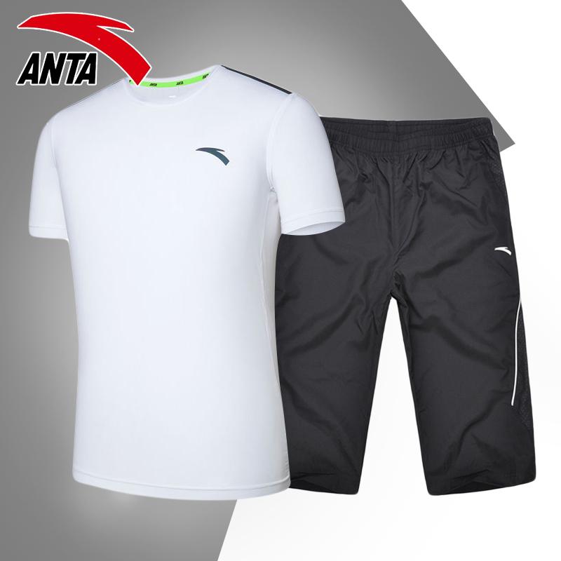 安踏运动套装男装夏季透气速干运动服夏装短袖T恤七分短裤两件套