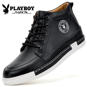 花花公子男鞋冬季高帮鞋男士板鞋韩版潮流休闲皮鞋加绒保暖棉鞋子