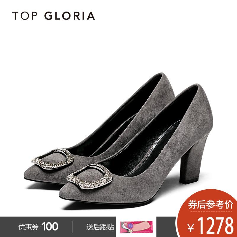 topgloria汤普葛罗2018秋冬新款粗跟方扣女鞋 优雅尖头羊皮高跟鞋
