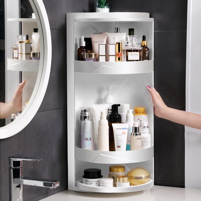 卫生间置物架浴室免打孔收纳架厕所落地三角架洗手台旋转墙角架