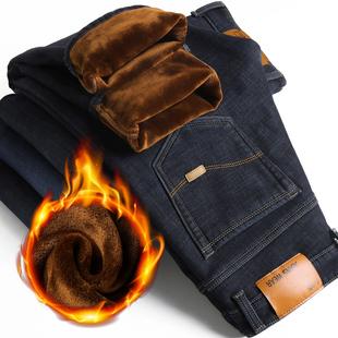 冬季弹力牛仔裤男士加绒加厚休闲男裤子青年直筒保暖牛仔长裤子