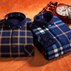 Muffler men's warm shirt men's long-sleeved plaid plus velvet thick Slim autumn and winter casual shirts in cashmere Men