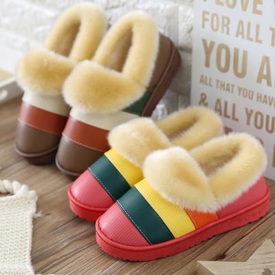 冬季防水保暖棉拖鞋女包跟男士室内家居家情侣毛绒防滑厚底皮拖鞋