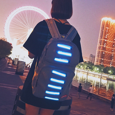 Tide brand personality creative Korean version of the canvas shoulder bag female tide fashion dead fly luminous student bag male hip-hop backpack