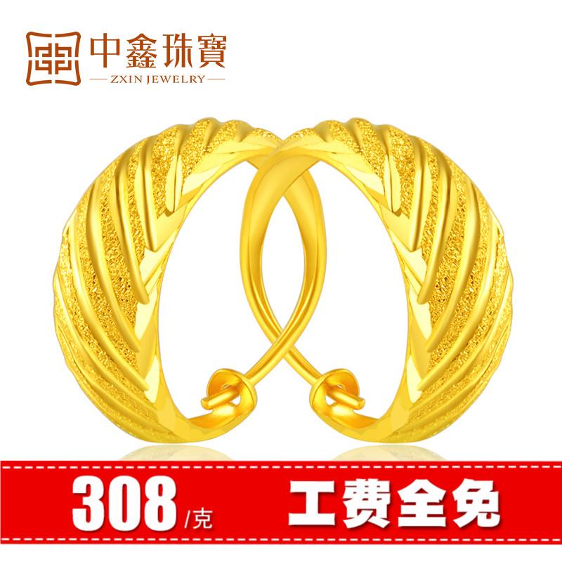 308元-g黄金耳环女足金9999耳圈斜纹送妈妈金首饰婆婆中老年新款