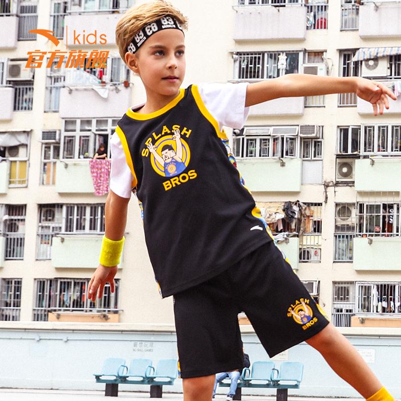 安踏儿童汤普森篮球服速干运动套装男童夏装2018夏新款小学生背心