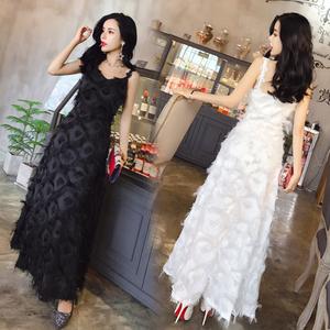3178#【实拍】大气优雅羽毛吊带性感宴会礼服连衣裙长裙