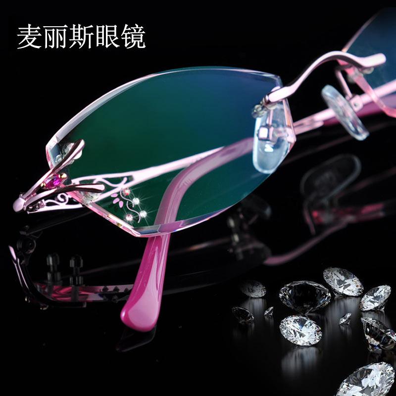 配成品近视眼镜女超轻防蓝光辐射钻石切边无框眼睛架有度数圆脸潮
