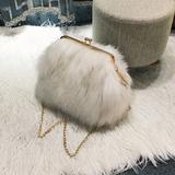 2016新款毛毛包女包贝壳链条单肩包时尚毛绒包冬款包斜跨包大包包
