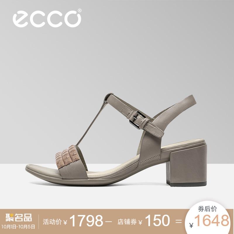 ECCO爱步2018新款休闲丁字扣带凉鞋中跟女鞋潮 型塑35方跟250513