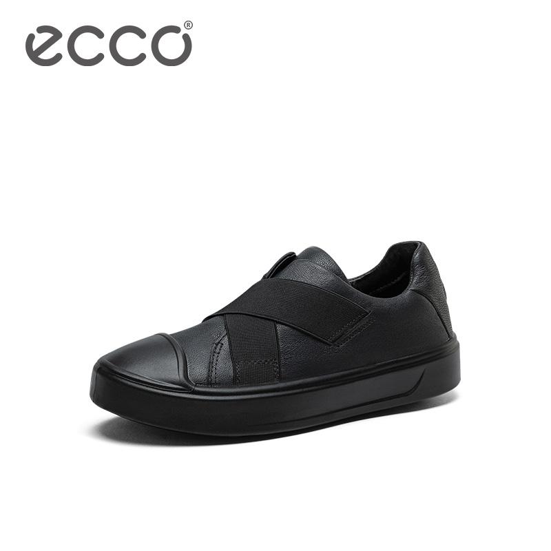 ECCO爱步2019新款童鞋 儿童黑色板鞋松紧带平底休闲鞋 随溢764253