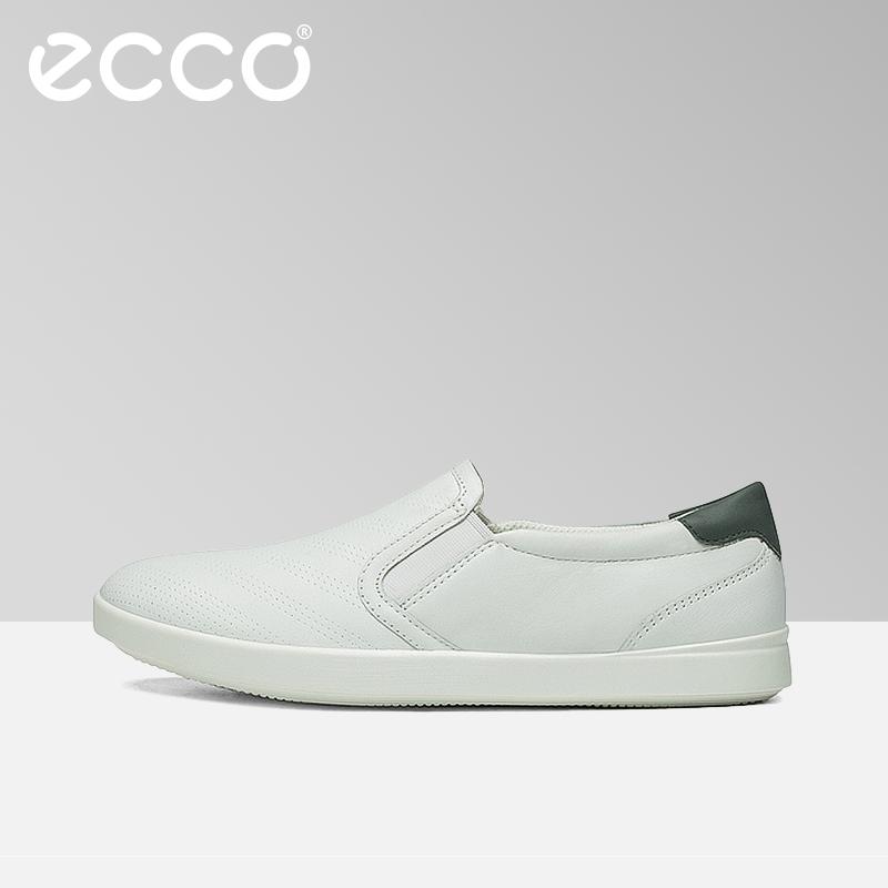 ECCO爱步休闲复古圆头平底单鞋牛皮透气百搭小白鞋女 艾米241073