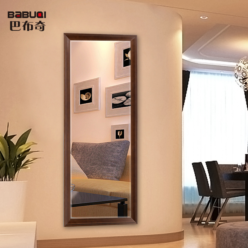 USD 100.38] Babuqi American solid wood full-length mirror full ...