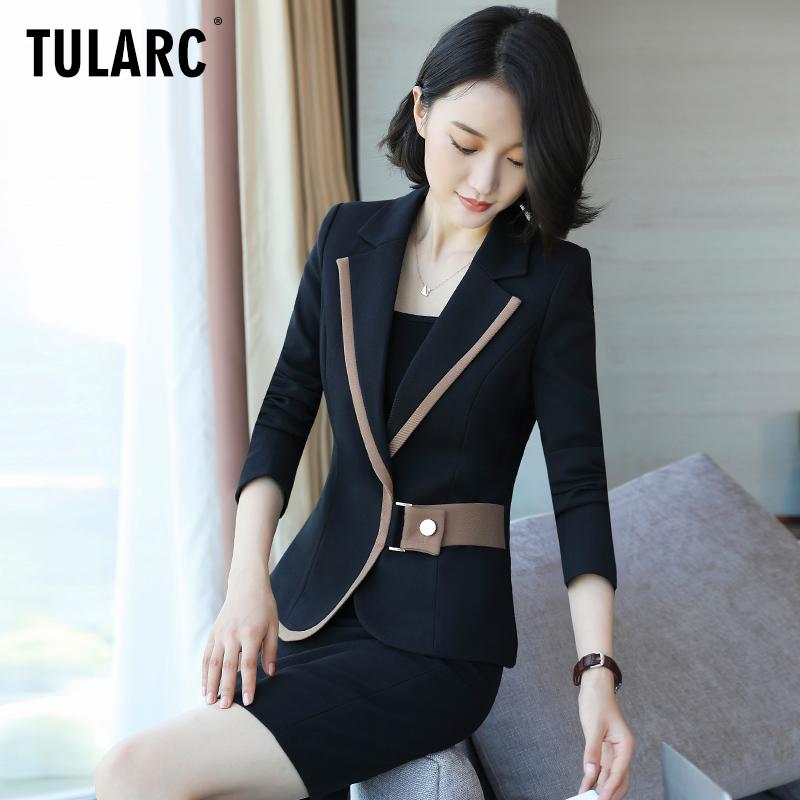 职业装女2018新款时尚气质小香风西服职业套装女夏黑色西装工作服