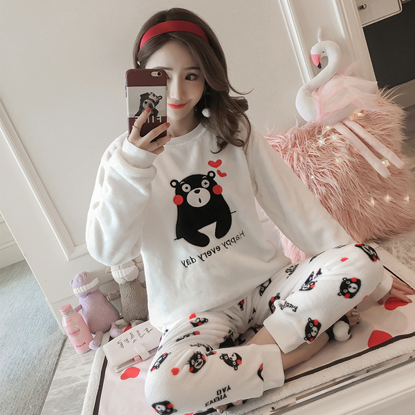 Real Shot Korean Version Of Coral Velvet Pajamas Female Winter Thickening Plus Velvet Sweet Autumn And Winter Flannel Long-Sleeved Home Service Suit