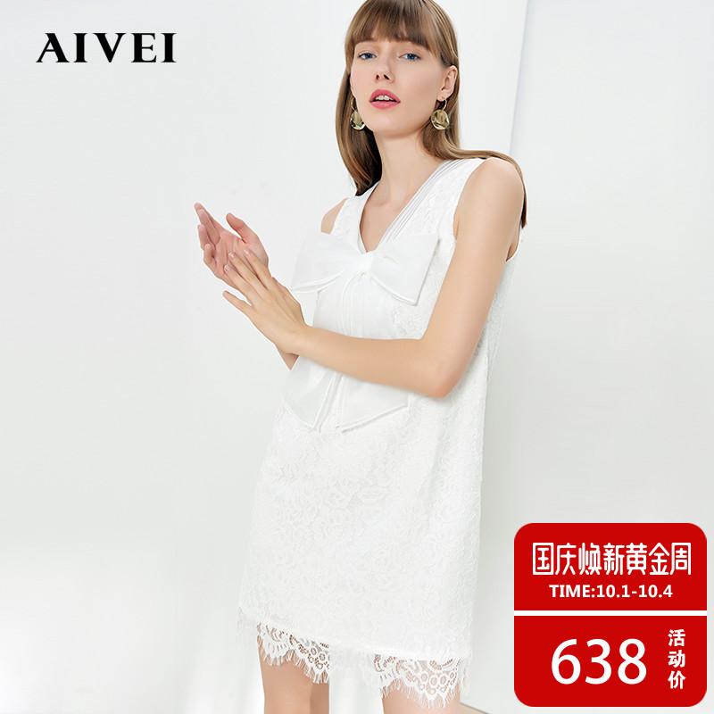 AIVEI欣贺艾薇春夏新品大蝴蝶结V领无袖蕾丝甜美连衣裙K0360013