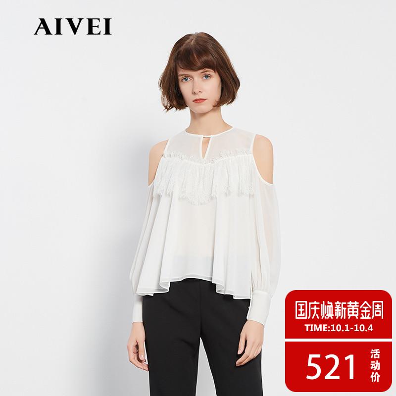 AIVEI欣贺艾薇春新品性感露肩袖蝴蝶结蕾丝拼接雪纺上衣K0160022