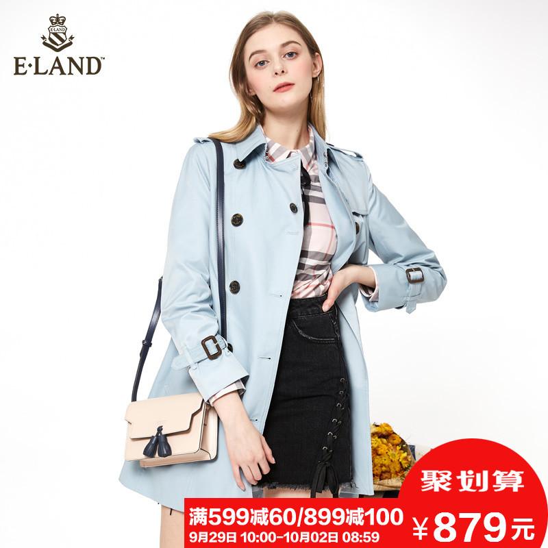 ELAND衣恋春季女装学院风双排扣中长款风衣外套女EEJT81151M