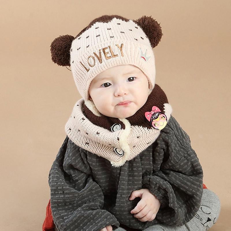 熊朵宝宝毛线套头帽加绒冬天婴儿帽子6-12个月毛线护耳帽男女韩国产品展示图1