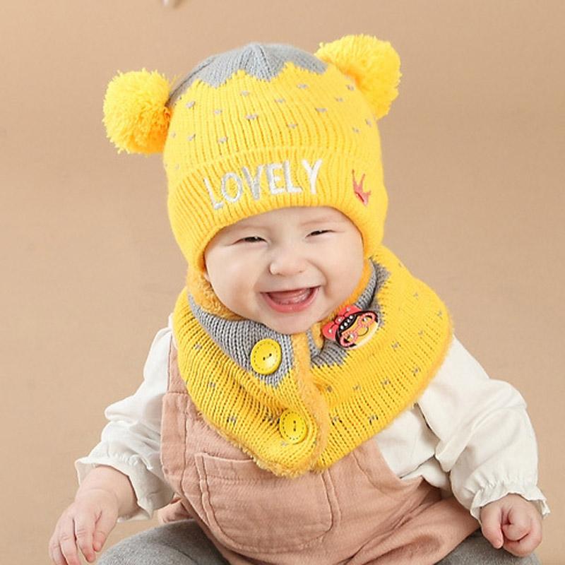 熊朵宝宝毛线套头帽加绒冬天婴儿帽子6-12个月毛线护耳帽男女韩国产品展示图3