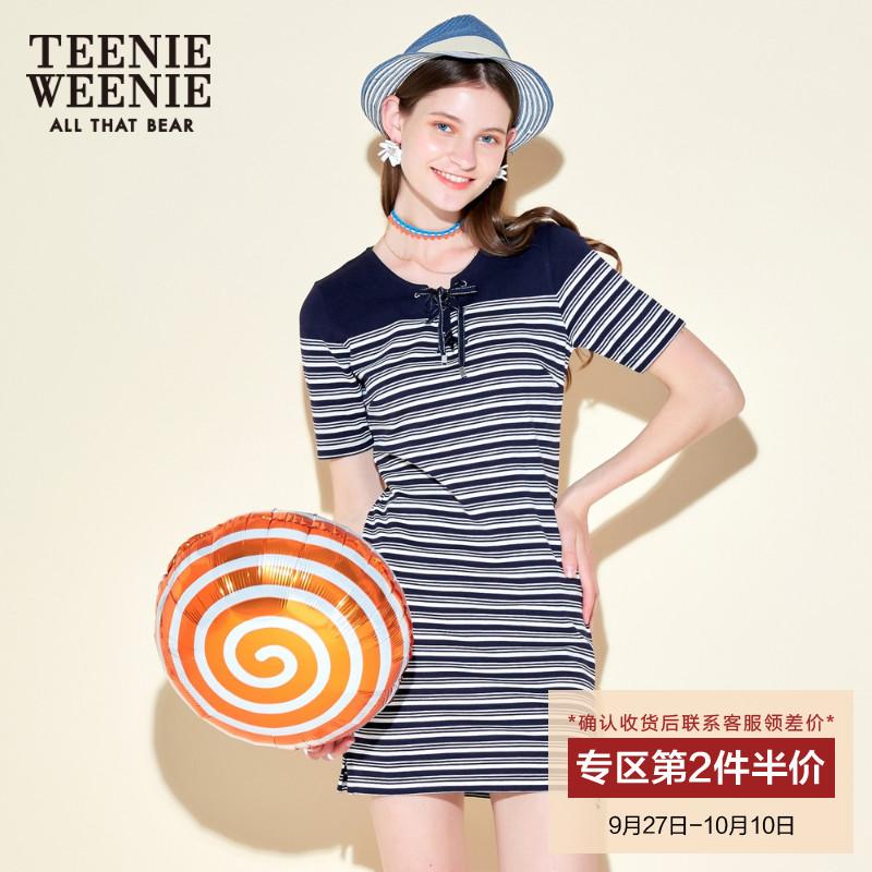 Teenie Weenie小熊夏女海军风条纹系带连衣裙TTOM72691Q