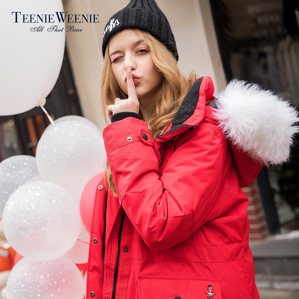Teenie Weenie小熊冬装韩版中长款羽绒服女TTJD78T08I