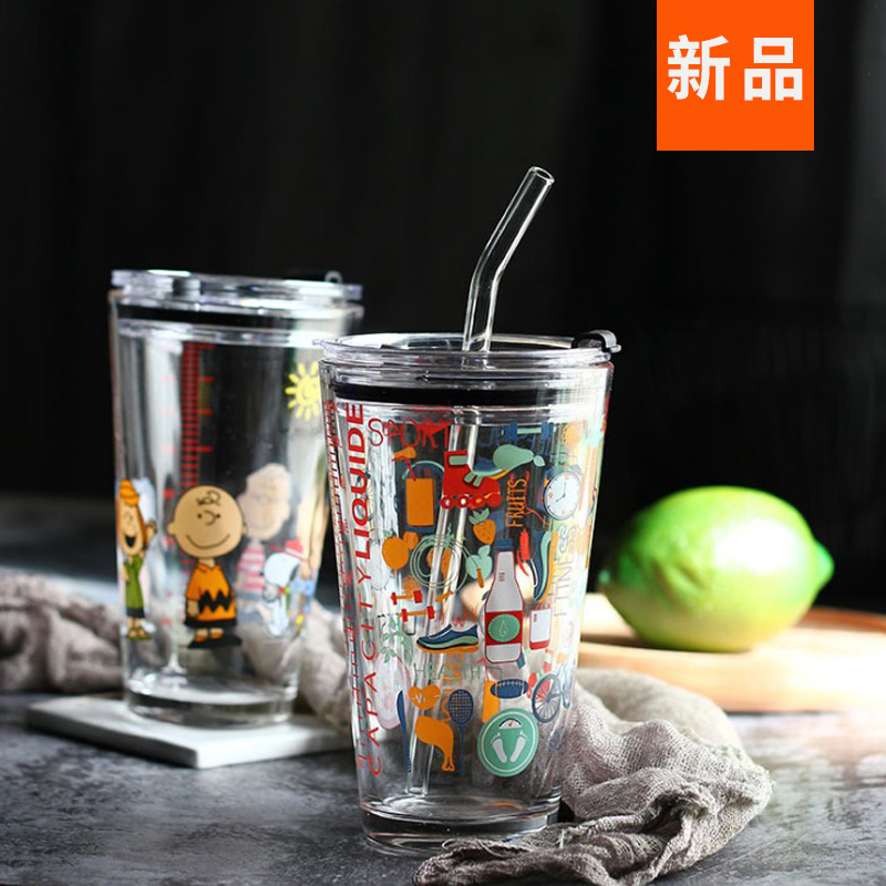 史努比带盖水杯吸管玻璃杯马克杯