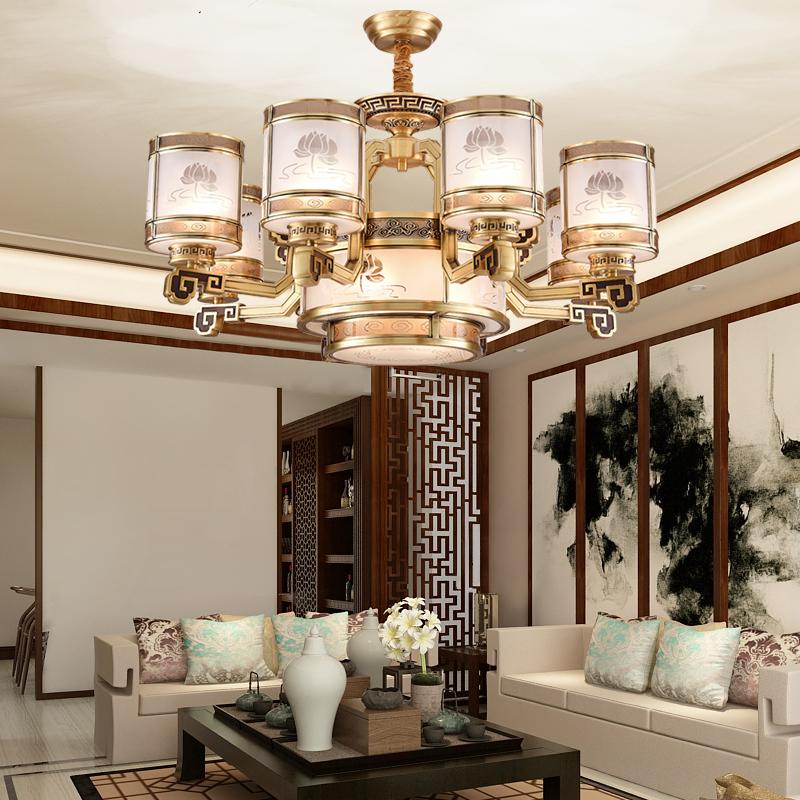 中式吊灯全铜客厅灯酒店别墅宫廷式灯具复古大气工程会所楼梯灯饰