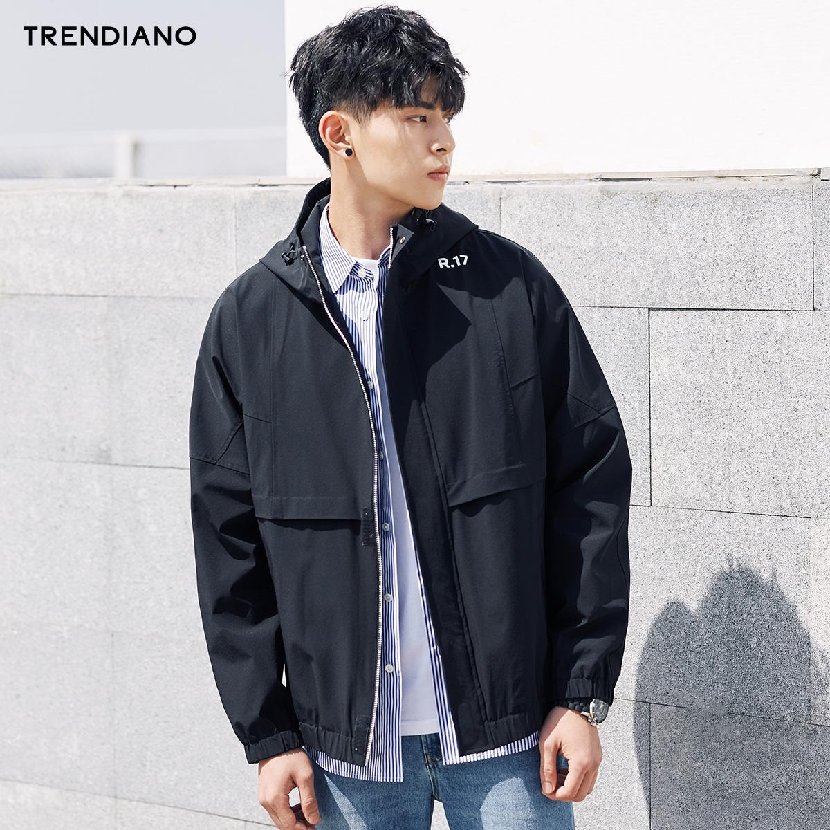 TRENDIANO新2018男装春装潮简约印花字母连帽风衣外套3GC104453P