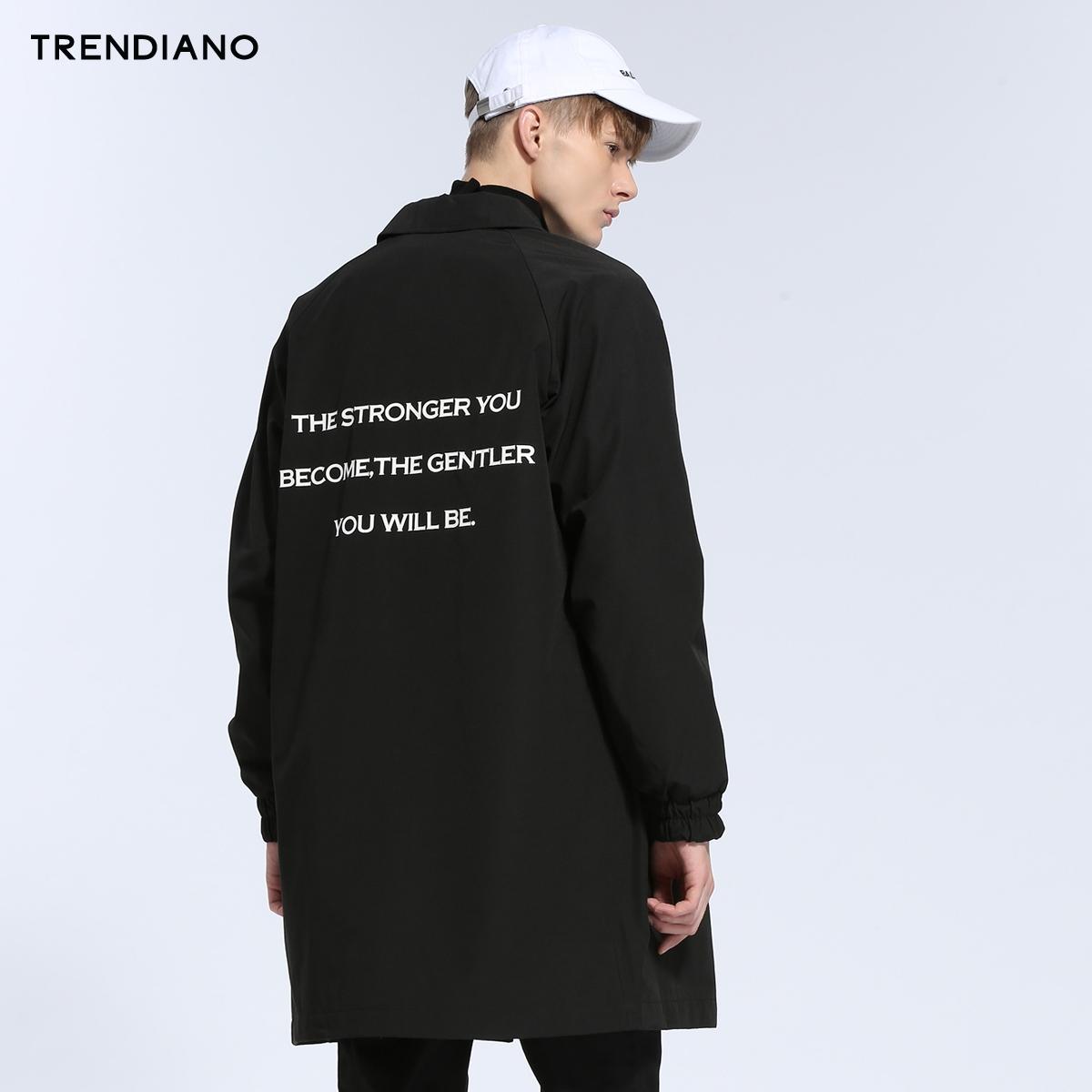TRENDIANO男装冬装潮休闲字母翻领长款长袖风衣外套3JC4044470