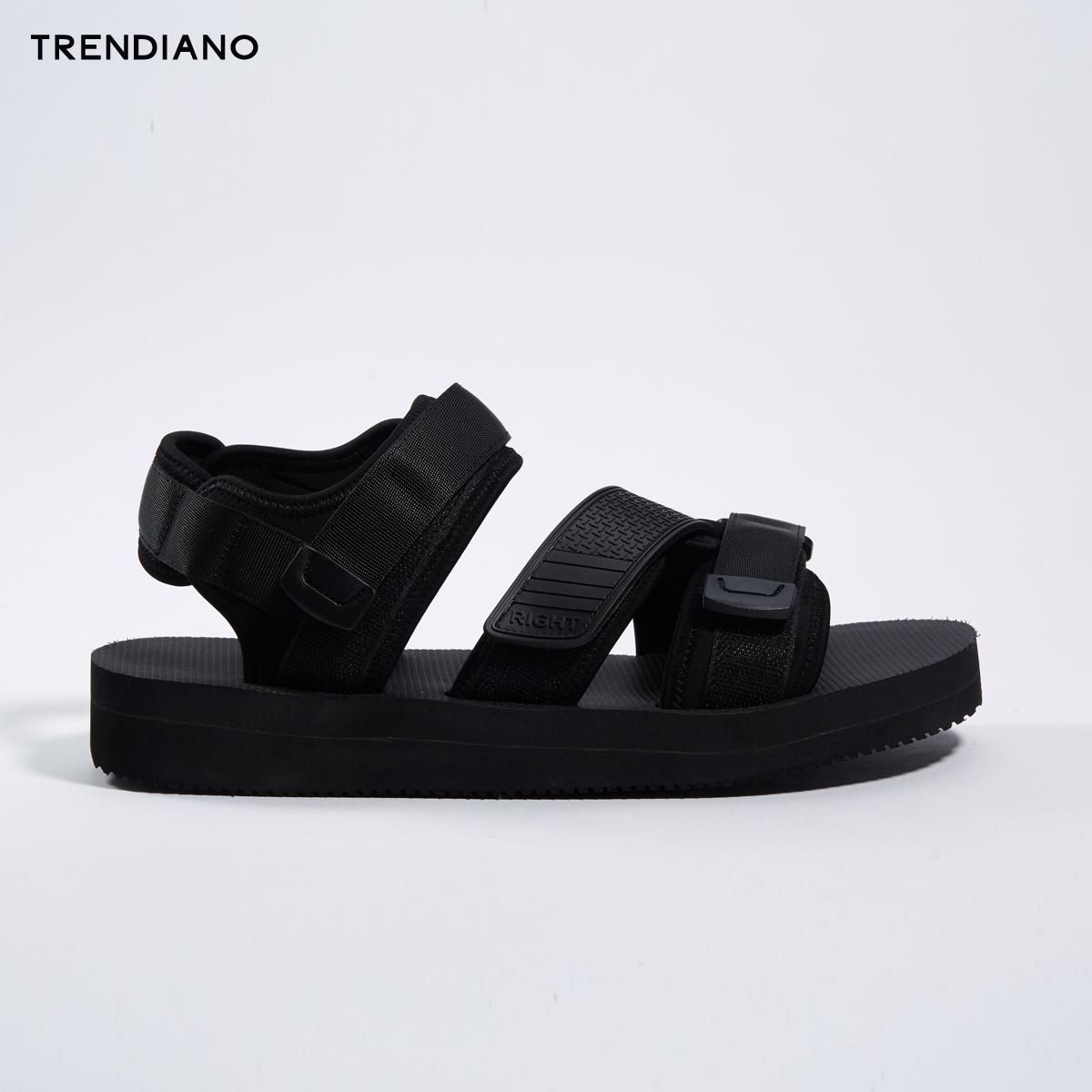 TRENDIANO新2018男装夏装潮纯色攀带魔术贴休闲男凉鞋3GA251804P