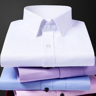 秋冬季男士长袖白衬衫加绒保暖商务正装黑色职业上班加厚衬衣服寸