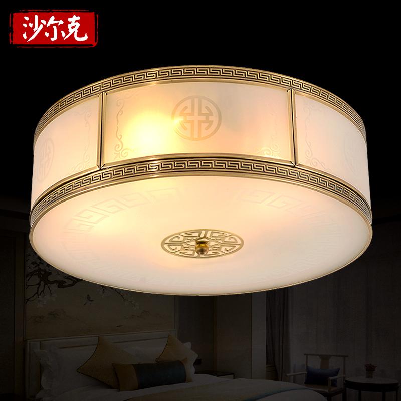 led吸顶灯新中式铜灯卧室灯圆形灯方形吸顶灯书房过道走廊房间灯