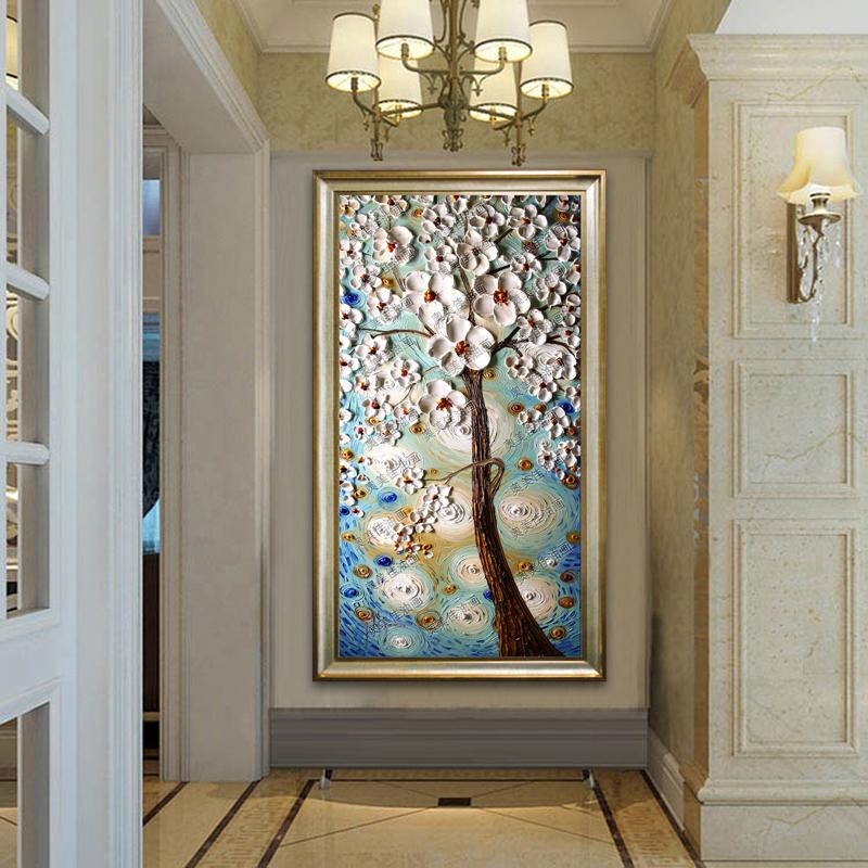 玄关装饰画发财树走廊壁画过道浮雕立体画竖版欧式挂油画招财风水