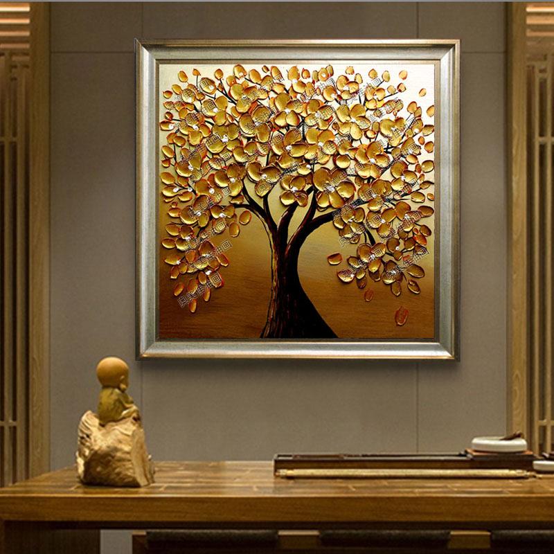 餐厅油画发财树客厅挂画卧室玄关抽象招财树立体装饰画金钱树