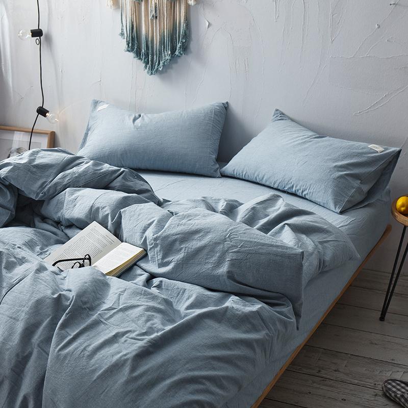 日式良品水洗棉四件套素色床上全棉纯棉被套床单1.51.8床笠三件套