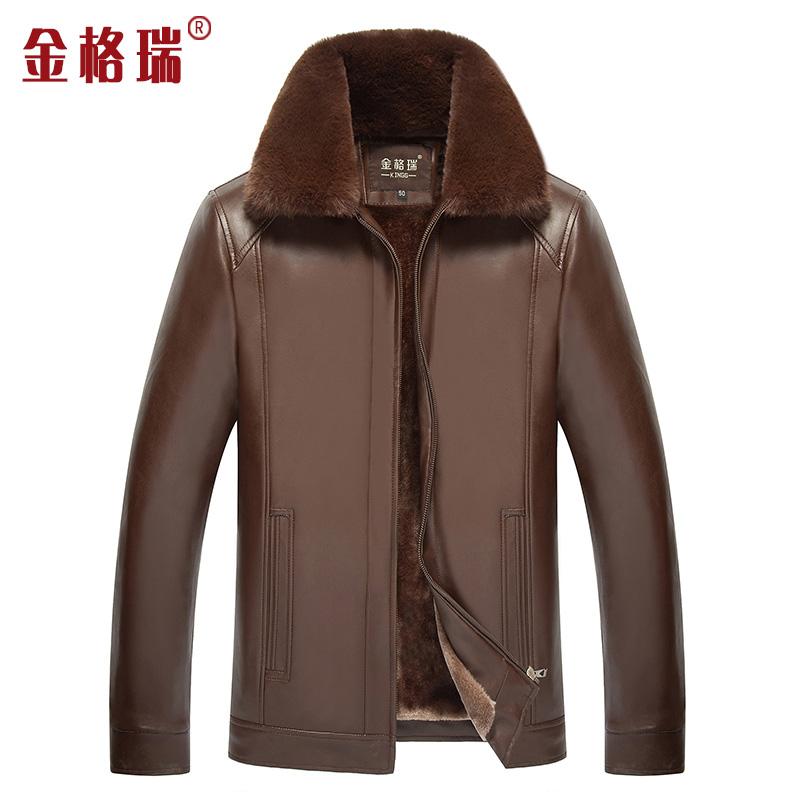 秋冬款PU皮衣中老年男士可卸领皮夹克